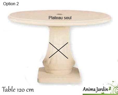 dessus de table en pierre reconstituée-120cm-anima-jardin