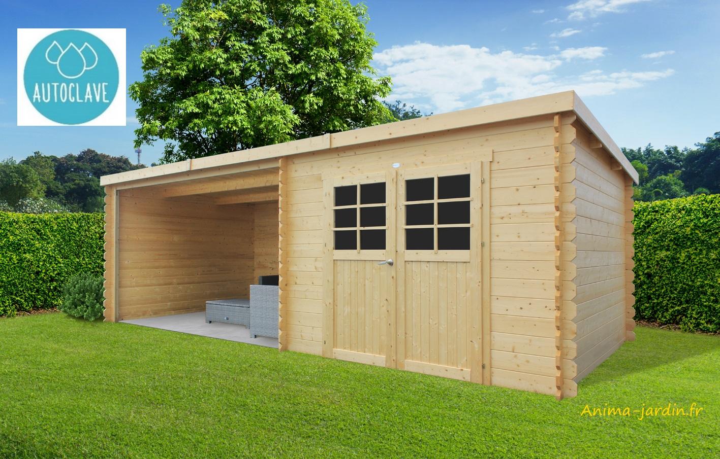 Abri de jardin en bois traité autoclave, ROHAN, toit plat ...