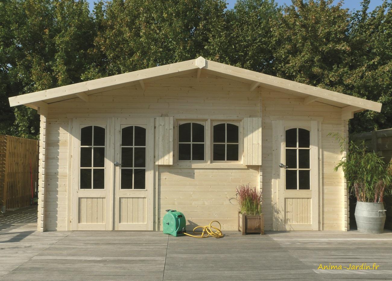 Grande Cabane De Jardin Pas Cher abri de jardin en bois 40mm, rostock, 2 pièces, 3 portes