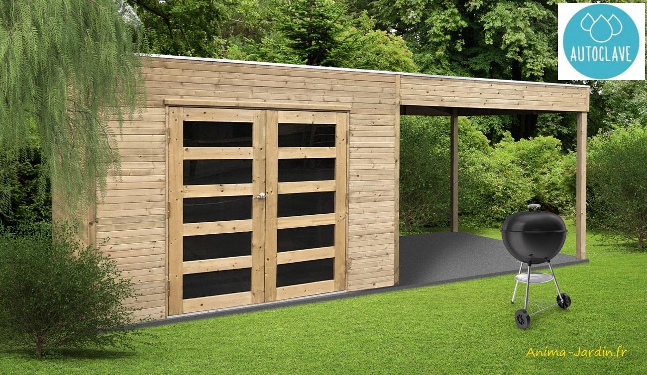 Abri en bois-avancée-espace détente-rangement-chalet-anima-jardin.fr