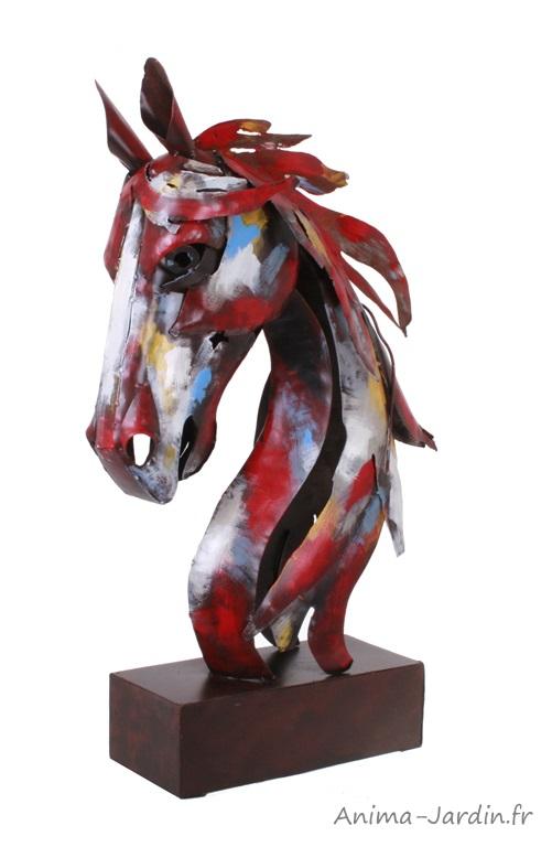 Tête de cheval-statuette en métal-Socadis-décoration-Anima-Jardin.fr