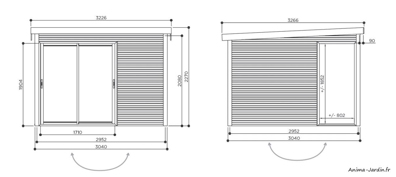 Abri de jardin en bois-Seda-abri avec baies vitrées-dimensions-Anima-Jardin.fr
