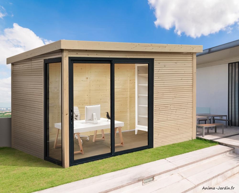 Abri de jardin en bois avec baies vitrées-Seda-28mm-9 m²-toit plat-Solid-achat-pas cher