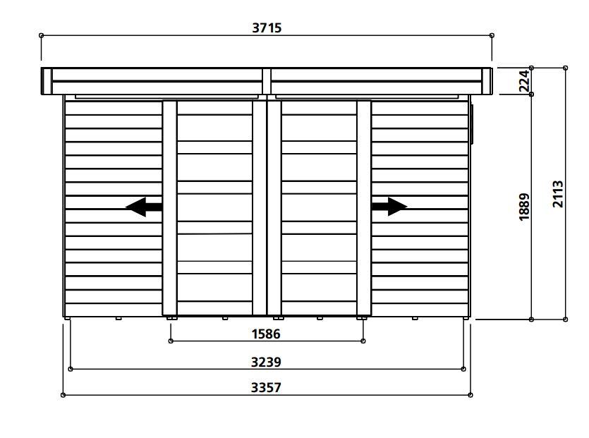 Abri de jardin en bois-19mm-Sjobo-toit plat-8,39m²-Solid-achat-vente-Anima-Jardin.fr