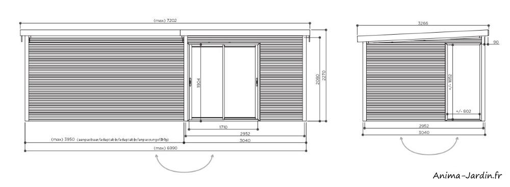 Abri de jardin en bois avec baies vitrées-Sagres-avec grande avancée-28 mm-9m²-toit plat-Solid-dimensions-Anima-Jardin.fr