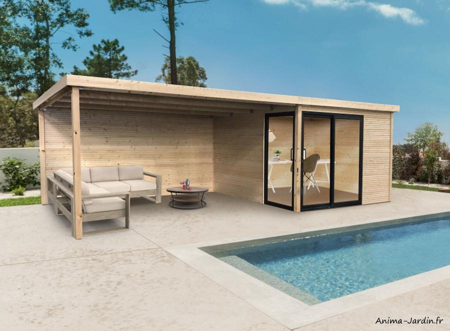 Abri de jardin en bois avec baies vitrées-Sagres-avec avancée-28 mm-9m²-toit plat-Solid-achat-pas cher-Anima-Jardin.fr