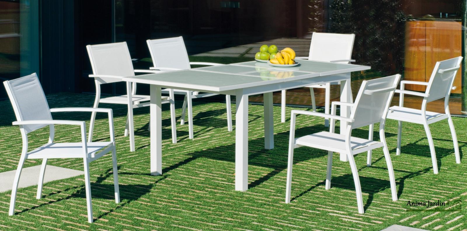 Salon de jardin en Aluminium Blanc, plateau en verre trempé, avec 6 ...