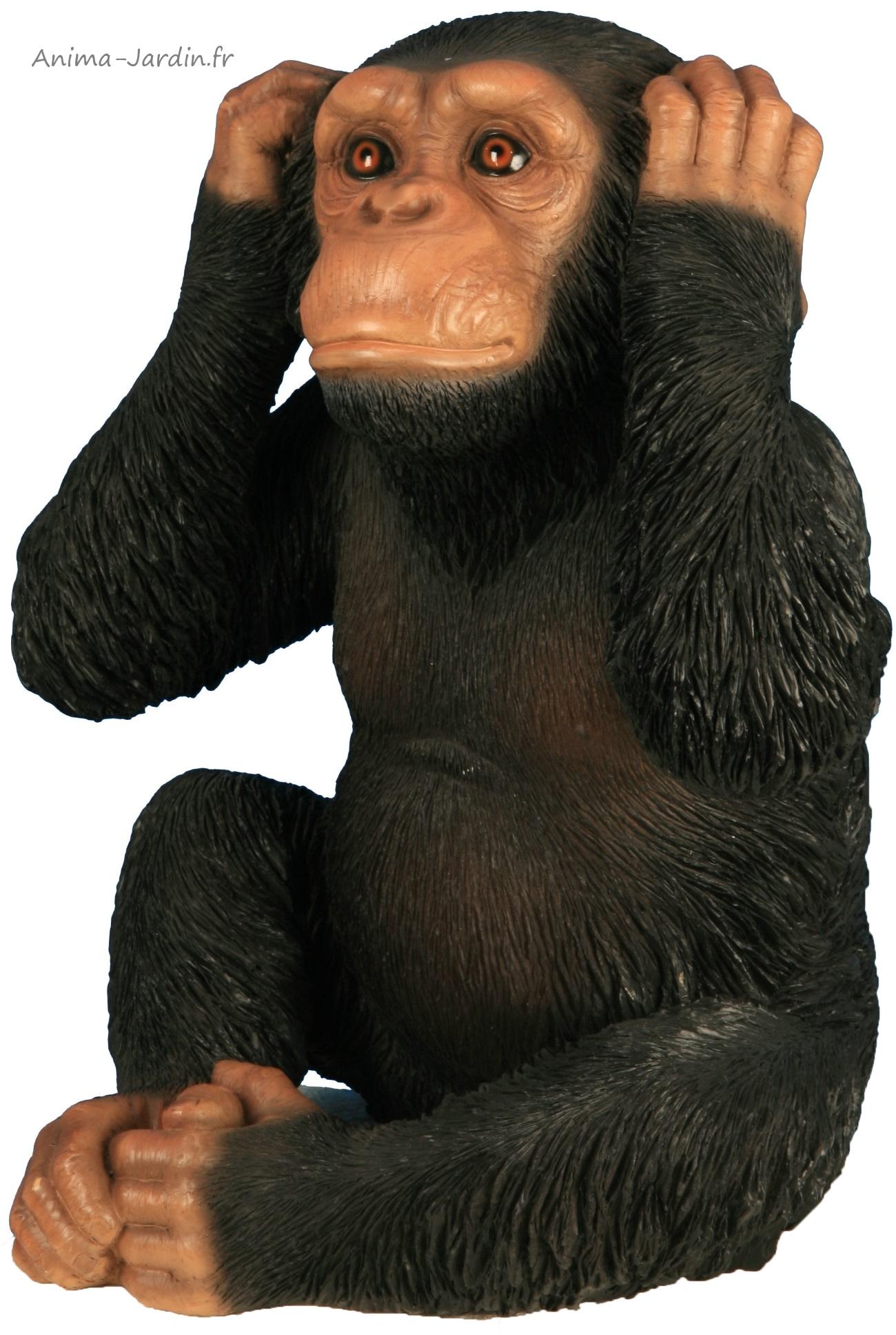 Singe-32cm-résine-primate-décoration-ne rien entendre-animal