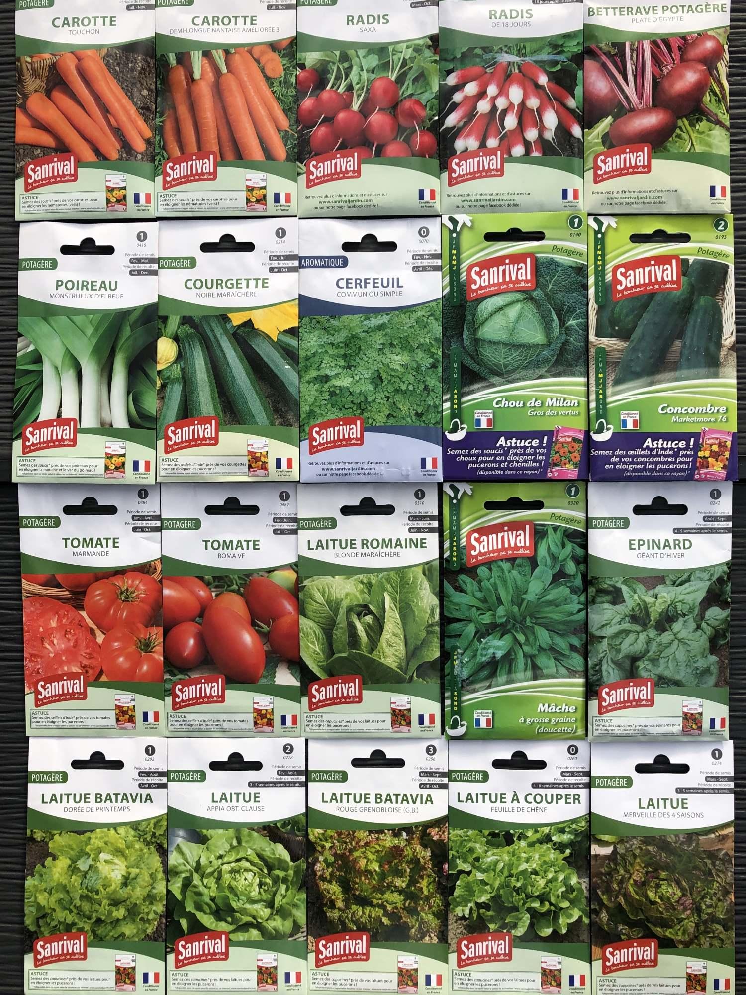 Lot de 20 paquets graines-légumes-potager-jardin ouvrier-Sanrival-pas cher-économiquer