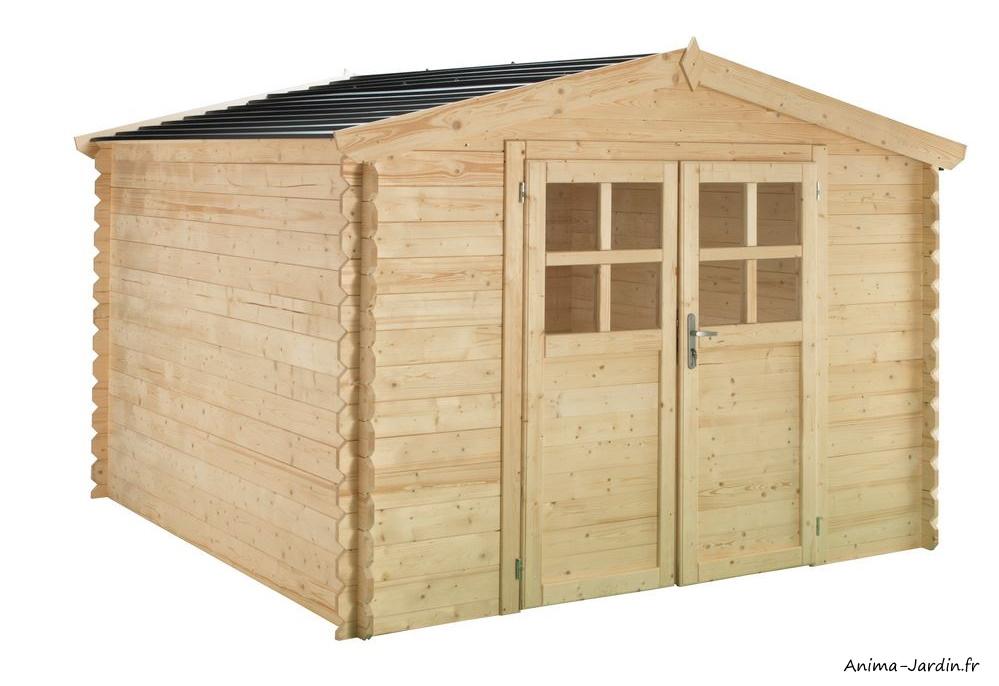 Abri de jardin en bois-Soleil-6,32 m²-2 portes-rangement extérieur-achat-pas cher-Anima-Jardin.fr