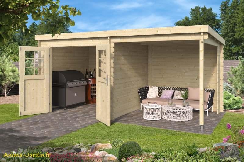 Abri de jardin en bois, 28 mm, Sophy, naturel, avec avancée, épicéa, achat, Anima-Jardin.fr