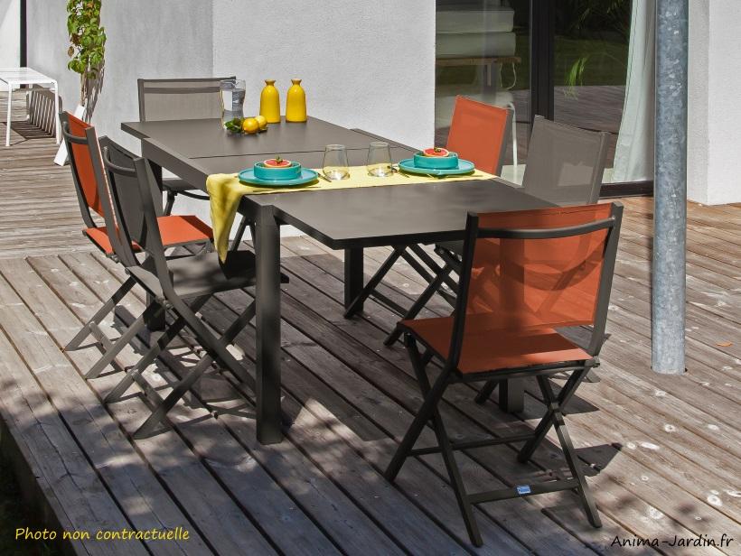 Salon de jardin équipé, table rectangulaire Elise, café, avec 6 ...