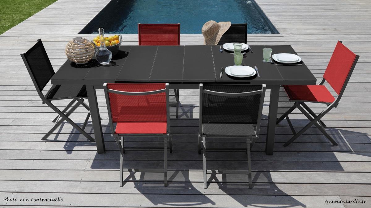 Salon de jardin équipé-table rectangulaire-chaises thema-aluminium-verre trempé-salon de jardin-Anima-Jardin.fr
