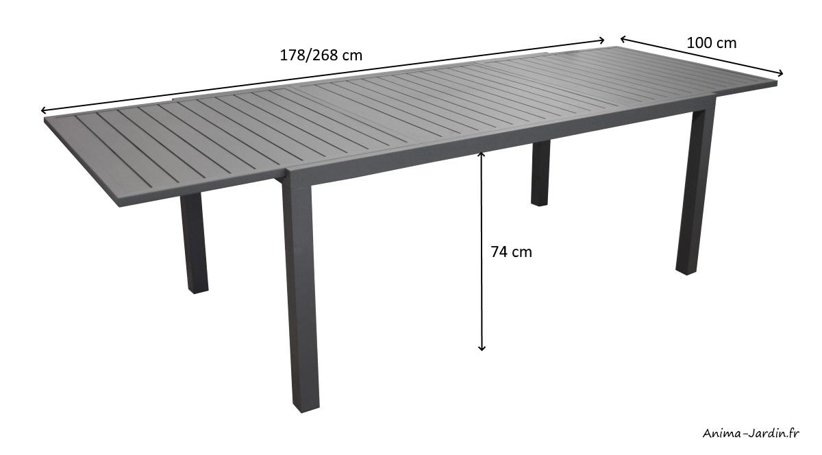 Salon de jardin équipé-table rectangulaire Solem 268-aluminium-avec fauteuils Duca-Anima-Jardin.fr