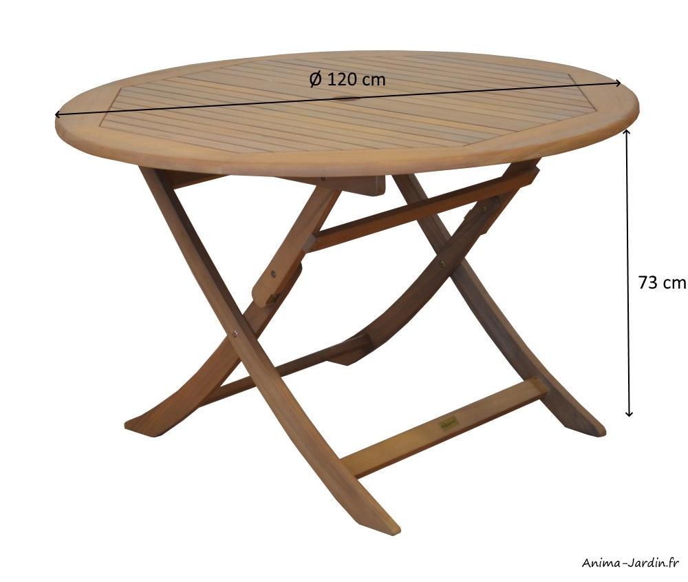 Salon de jardin équipé, table Sophie 120, Eucalyptus, table ...
