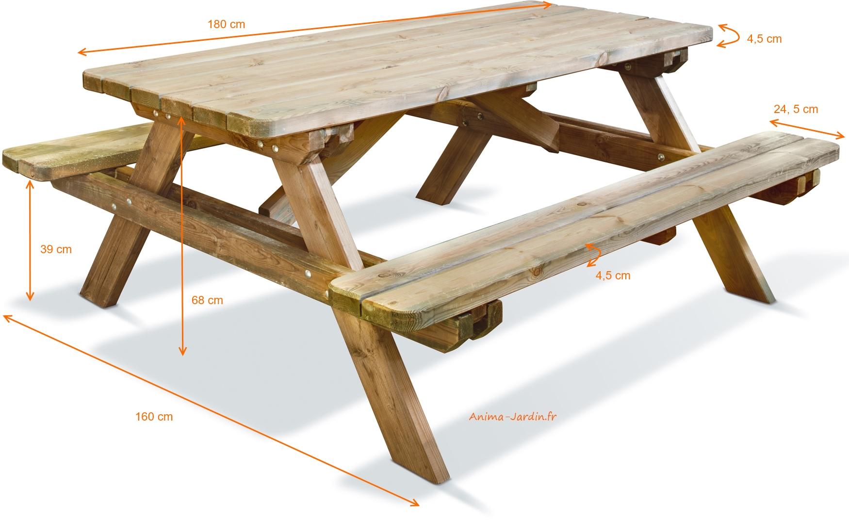 Table pique nique en bois traité autoclave, forestière,180 cm ...