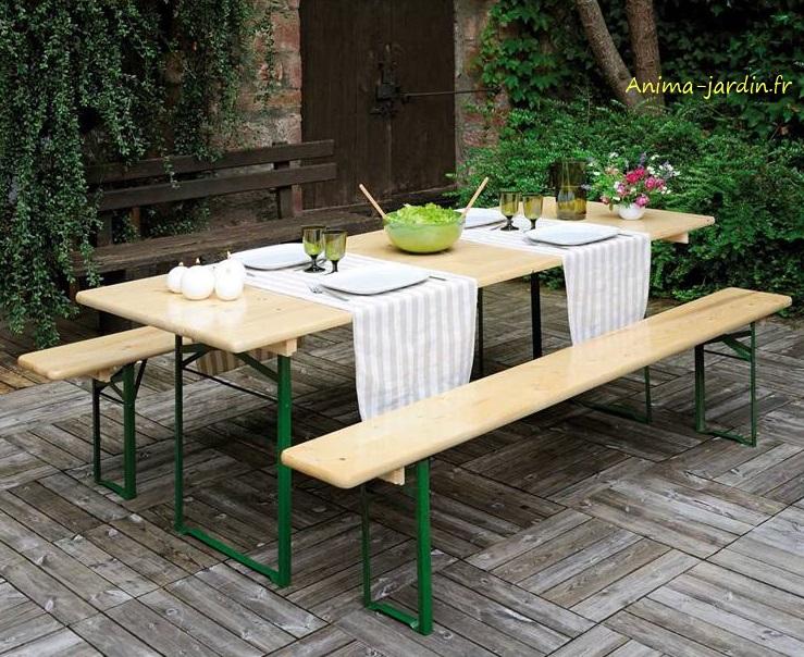 Table Banquet pliable avec bancs en bois et métal, set brasseurs