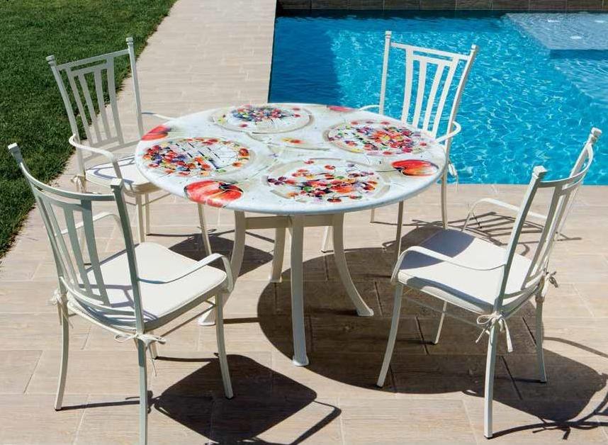 Table ronde 90cm en pierre volcanique, décor floral, design italien ...