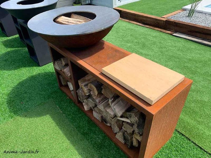 Braséro-Tavolo-Corten-ø94 cm-avec meuble-aspect rouillé naturel-Piatto-Quoco-braséro 3 en 1-Fargau-Anima-Jardin.fr
