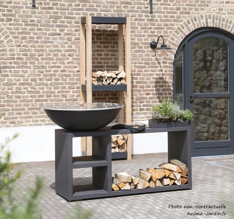 Braséro-Tavolo Noir-ø94cm-avec meuble-Piatto-Quoco-braséro 3 en 1-Fargau-Anima-jardin.fr