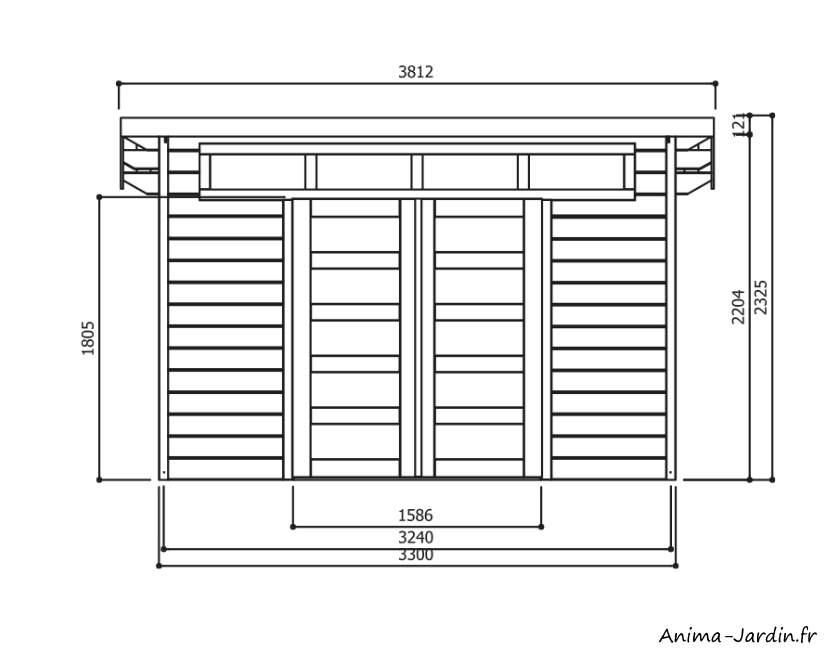 Abri Venezia-abri en bois-dimensions-plan-Anima-Jardin.fr