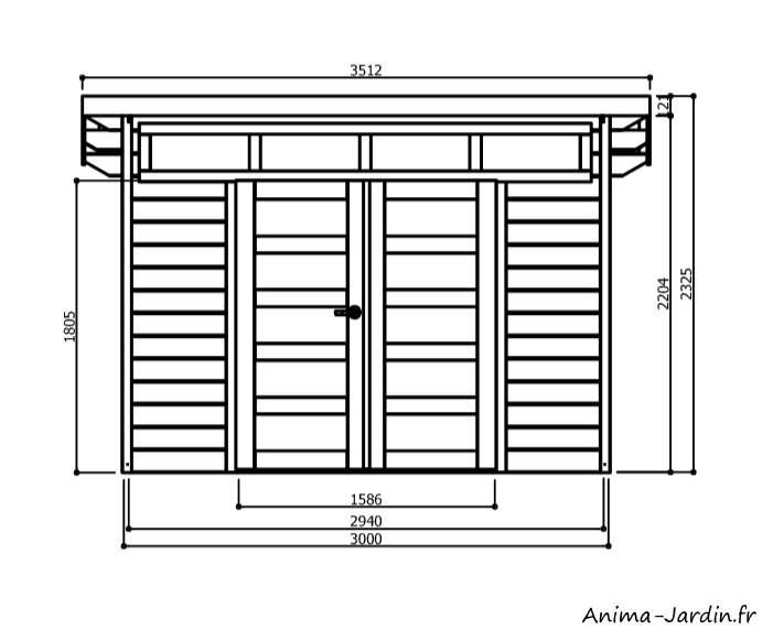Abri de jardin en bois-Verona-7m²-dimensions-plan-Anima-Jardin.fr
