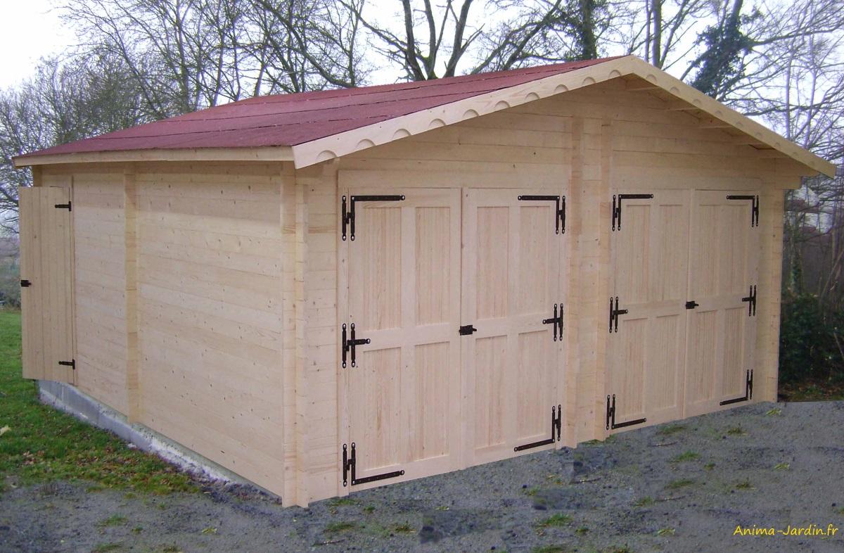 garage double en bois massif-42mm-35m²-double pente-Foresta-Anima-Jardin.fr