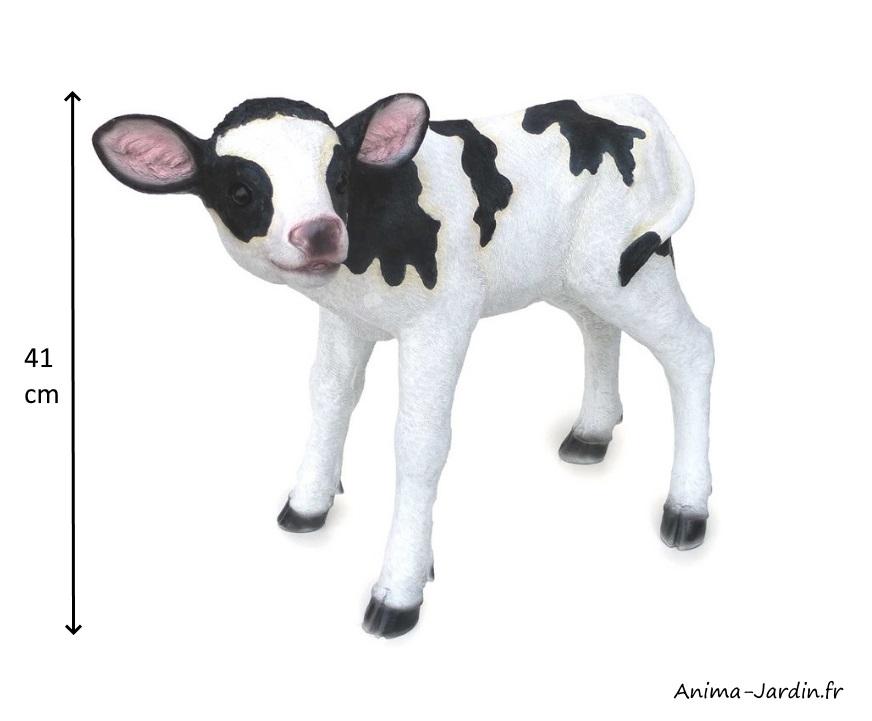 Veau, noir et blanc, 41 cm, animal en poly-résine, dimensions, décoration du jardin, achat, vente, pas cher
