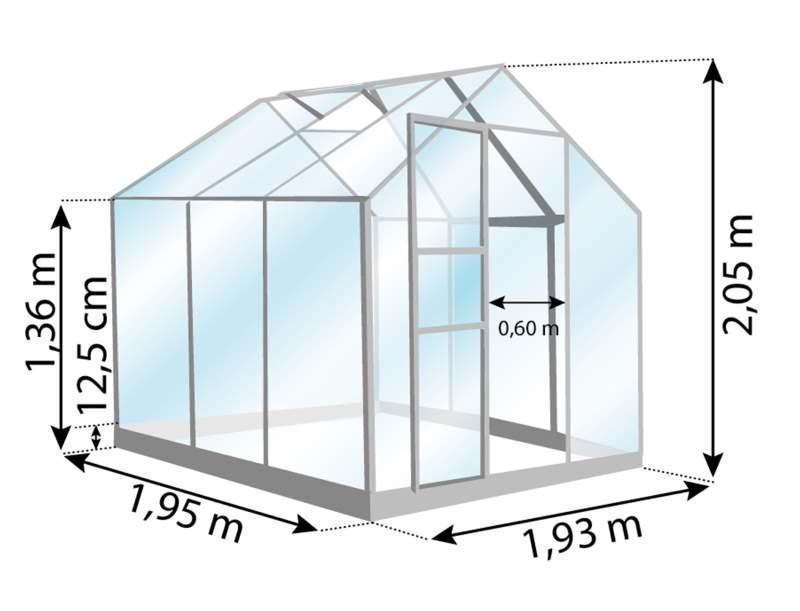 Venus 3800-serre de jardin aluminium-dimensions-Lams-Anima-Jardin.fr