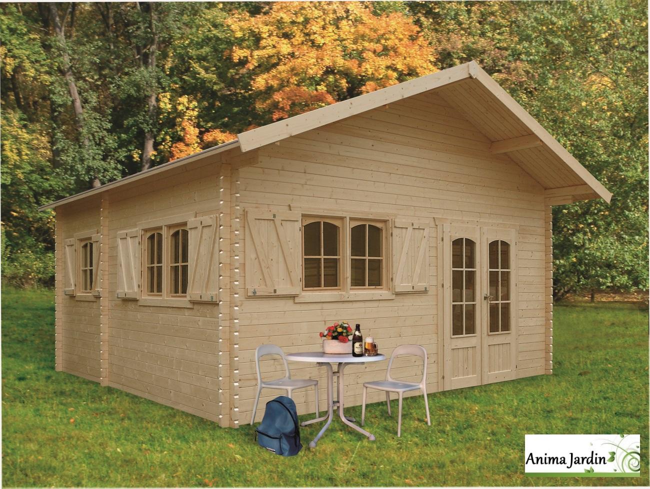 Abri De Jardin Habitable abri de jardin en bois 40mm, weekend, 23 m², 4 pièces, 2