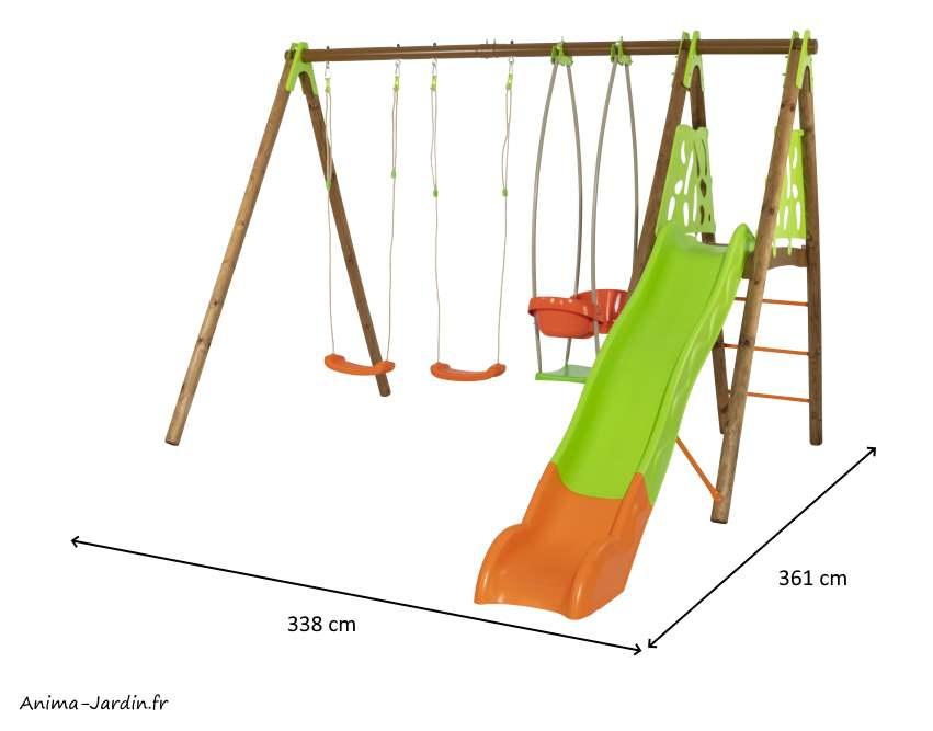 Portique Zambo-bois/métal-dimensions-Trigano-Anima-Jardin.fr