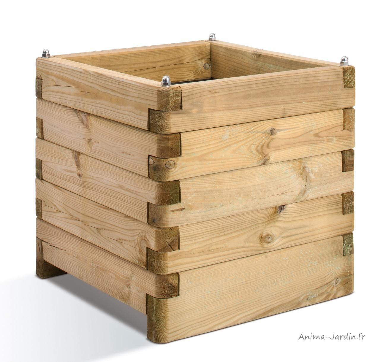 bac carré en bois-autoclave-50cm-bacàfleurs-anima-jardin.fr