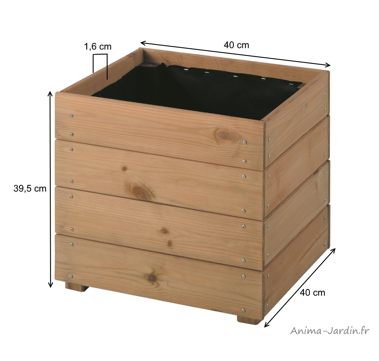 bac-carré-essencia-40cm-bois autoclave-dimensions-anima-jardin.fr