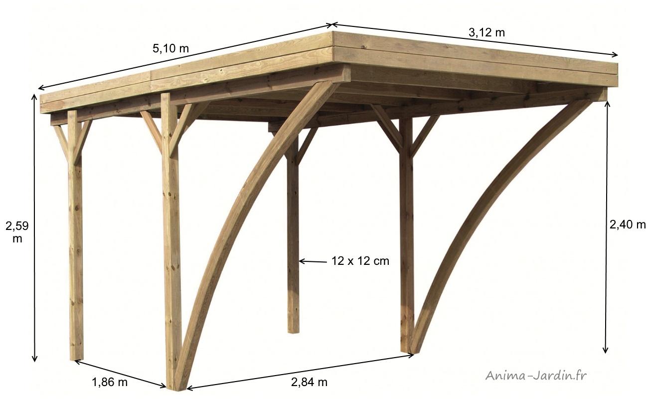 carport en bois autoclave 5x3m rangement voiture pas. Black Bedroom Furniture Sets. Home Design Ideas