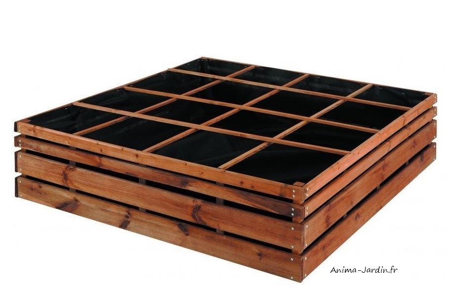 carr potager bois autoclave 16 cases carr de jardin. Black Bedroom Furniture Sets. Home Design Ideas
