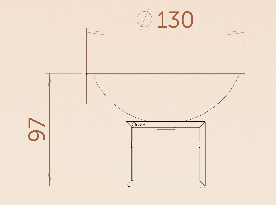 Braséro-Piatto Xl Corten-ø130 cm-aspect rouillé naturel-Quoco-plancha-barbecue-braséro 3 en 1-cuisine extérieure-Anima-Jardin.fr