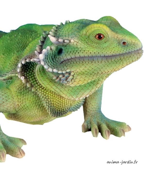 Lézard-vert-en-résine-46-cm, figurine-extérieure-reptile-anima-jardin.fr