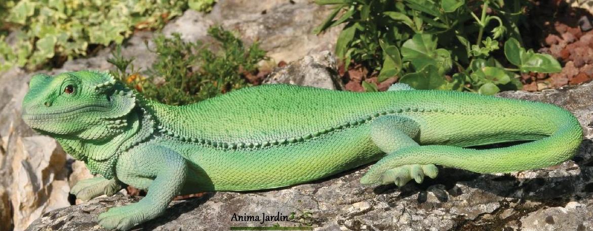 Lézard-vert-en-résine-46-cm, figurine-extérieure-reptile-riviera