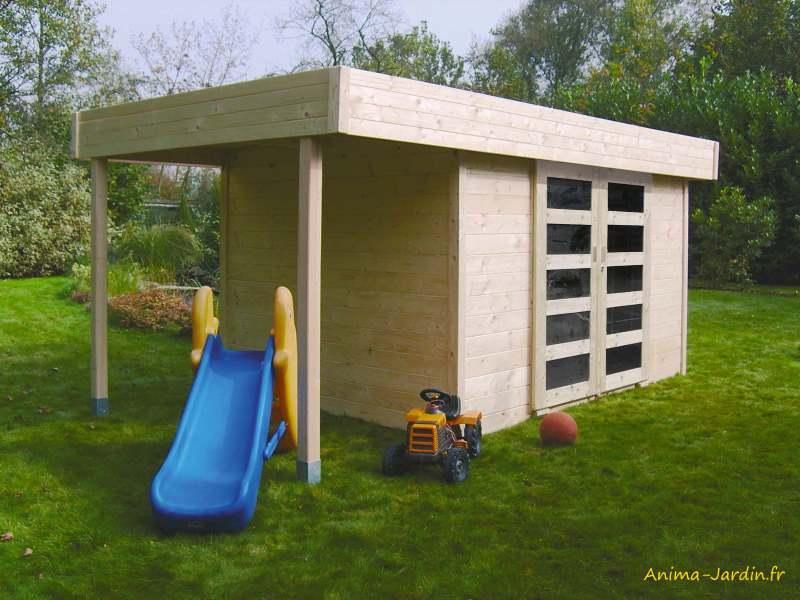 Abri de jardin en bois-28mm-Larvik-toit plat-Solid-Anima-Jardin.fr
