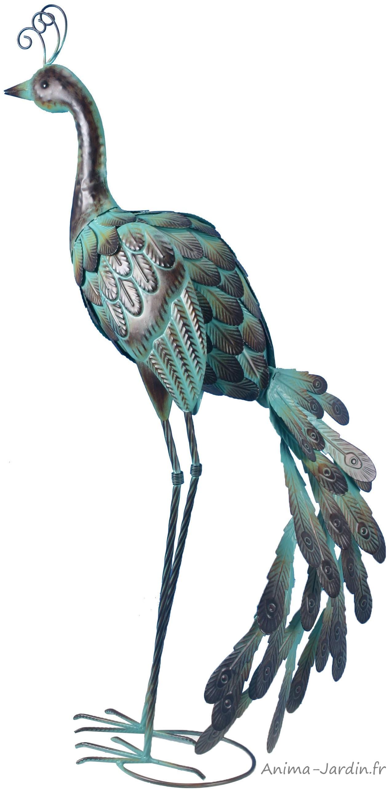 paon-animal-oiseau-métal-anima-jardin