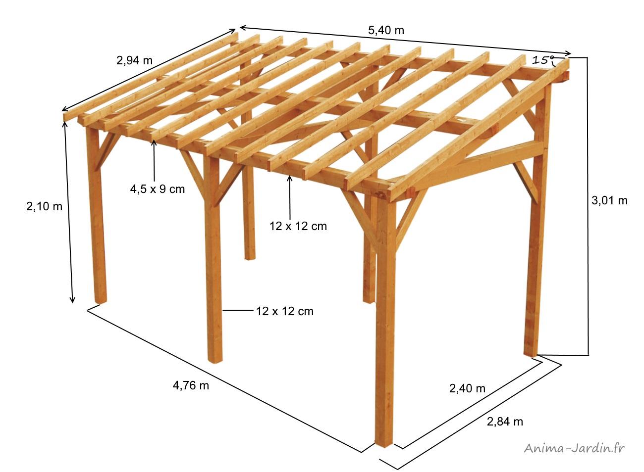 structure en bois-vanoise-15m²-rangement-voiture-carport-bûcher-anima-jardin.fr
