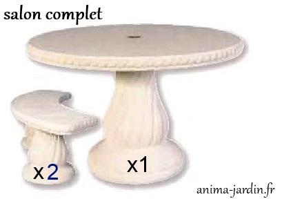 Table en pierre reconstituée, ronde 120cm, avec frise ...