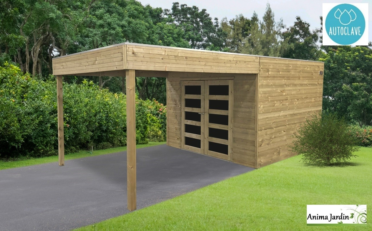 Abri de jardin en bois avec avancée, traité autoclave 19mm, Matera, 8m², double porte